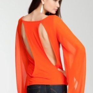 bebe Coral Chiffon Bell Sleeve Cut Out Back Top XS